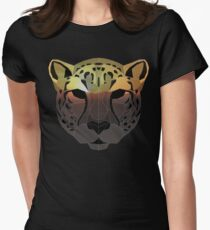 Low Poly Double Exposure Cheetah Women's Fitted T-Shirt