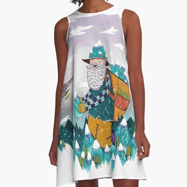 Mountain Guy and Owl Friend A-Line Dress