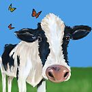 Cow With Pesky Butterflies by Amy McLain