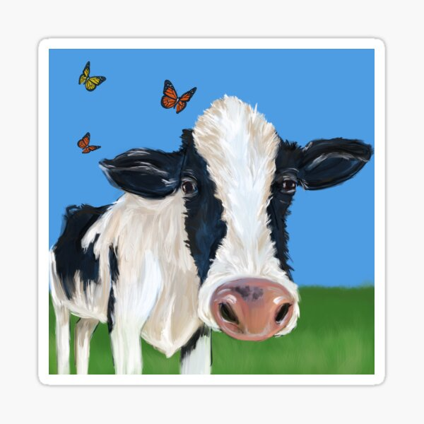 Cow With Pesky Butterflies Sticker