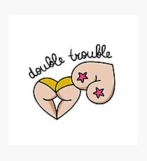 double trouble illustration traditional tattoo flash Photographic Print