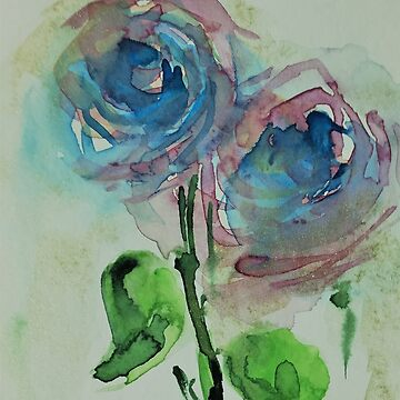 blue abstract flowers by Britta75