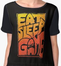 Eat sleep game tshirt with a cool graphic approach - fun video gamer gift idea Chiffon Top