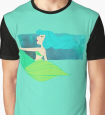 Mermaid Splash in Teal and Green Graphic T-Shirt