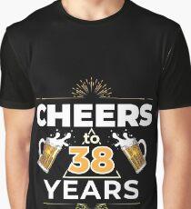 Cheers To 38 Years Birthday Gift Graphic T-Shirt
