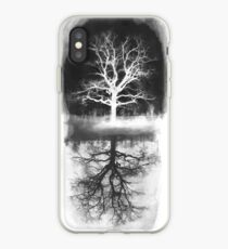 black tree - tree white  iPhone Case