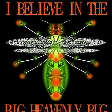 I believe in the big heavenly bug - text and image fun humor joke by M-Lorentsson