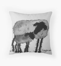 Inky Sheep 6 Throw Pillow