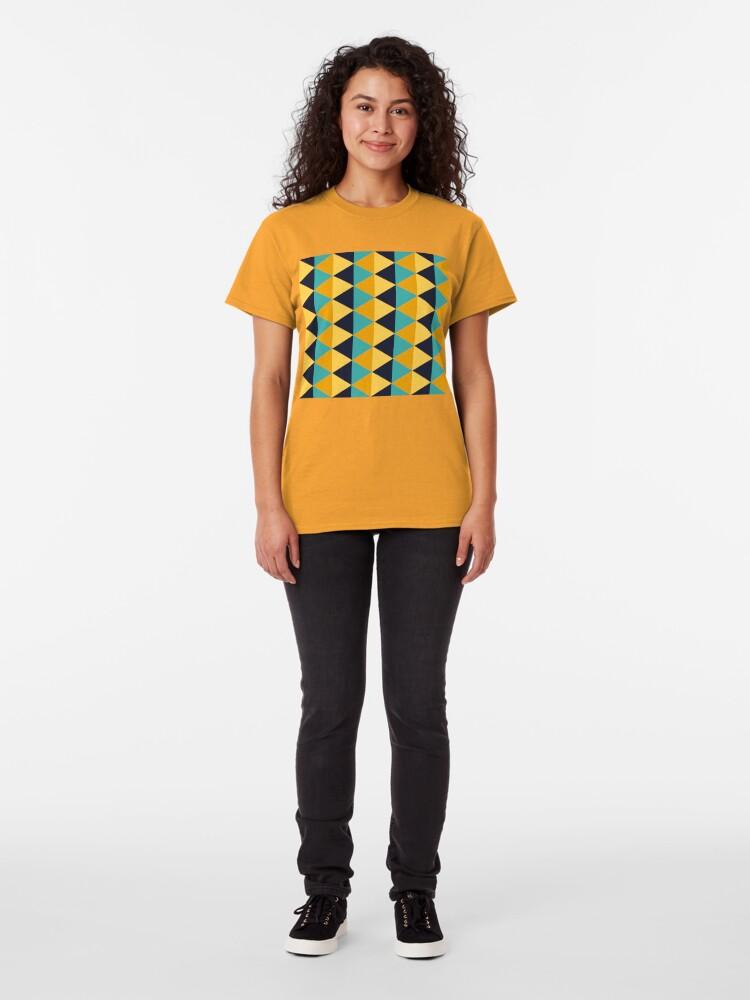 Alternate view of Geometric Pattern: Split Diamond: Blue/Yellow Classic T-Shirt