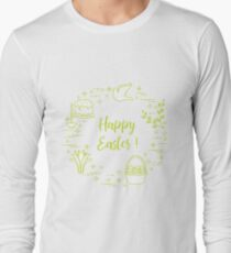 Easter cake, willow, lily,candle,dove,basket,eggs. Long Sleeve T-Shirt