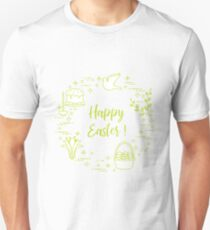 Easter cake, willow, lily,candle,dove,basket,eggs. Unisex T-Shirt
