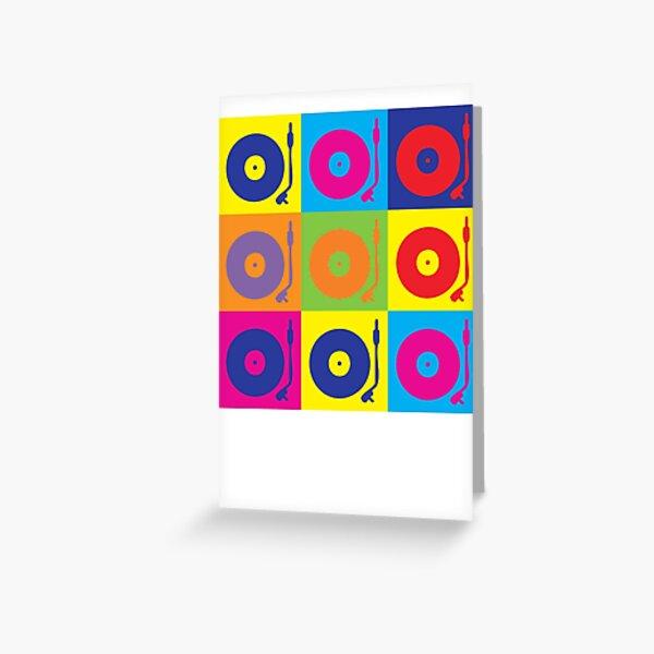 Vinyl Record Player Turntable Pop Art Greeting Card