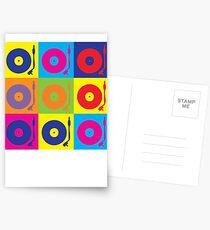 Vinyl Record Player Turntable Pop Art Postcards