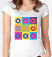 Vinyl Record Player Turntable Pop Art Women's Fitted Scoop T-Shirt