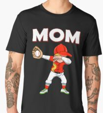 Dabbing Baseball Mom Baseball Softball Family Team Home Run Diamond Field Sport Game Coach Men's Premium T-Shirt
