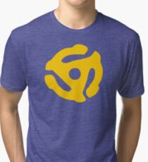 Yellow 45 RPM Vinyl Record Symbol Tri-blend T-Shirt
