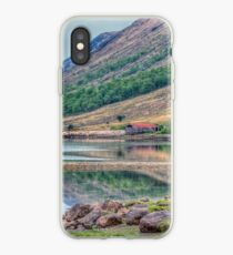 Glen Coe Scotland - A Red Barn By The Pond iPhone Case