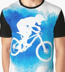 Silhouette of a cyclist riding a mountain bike Graphic T-Shirt