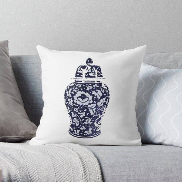 Navy Blue White Hamptons Ginger Jar Chinoiserie Vase Art Throw Pillow