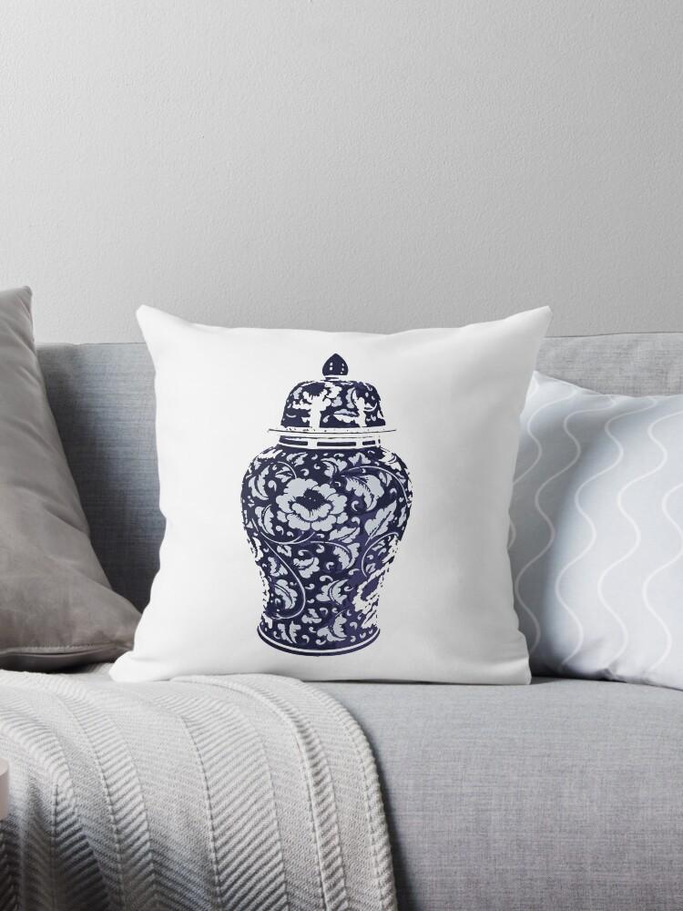 Navy Blue White Hamptons Ginger Jar Chinoiserie Vase Art Throw