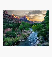 Sunset on the Virgin River - Zion National Park Photographic Print
