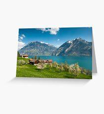 spring scenery at lake lucern Greeting Card