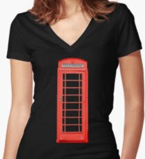 British Telephone Box Women's Fitted V-Neck T-Shirt
