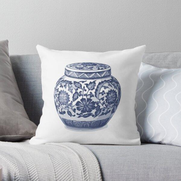 Indigo Blue White Hamptons Ginger Jar Chinoiserie Vase Art Throw Pillow