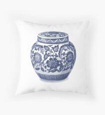 Cojín Azul índigo Hamptons Ginger Jar Chinoiserie Florero Arte