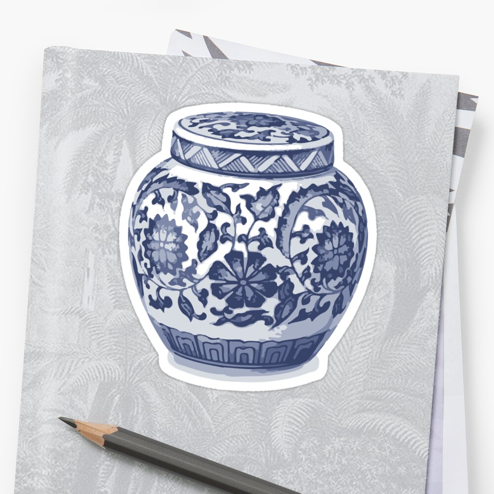 Indigo Blue White Hamptons Ginger Jar Chinoiserie Vase Art Stickers
