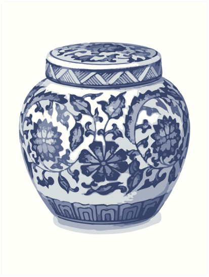 Indigo Blue White Hamptons Ginger Jar Chinoiserie Vase Art Art