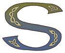 Celtic Knotwork Alphabet - Letter S by Carrie Dennison