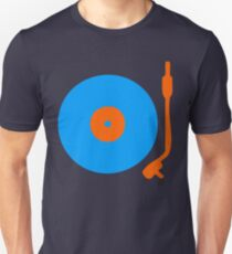 Blue Orange Vinyl Record Turntable Unisex T-Shirt