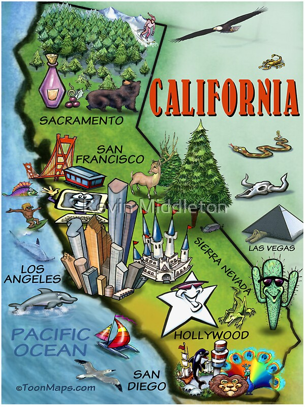 Quot California Cartoon Map Quot Stickers By Kevin Middleton