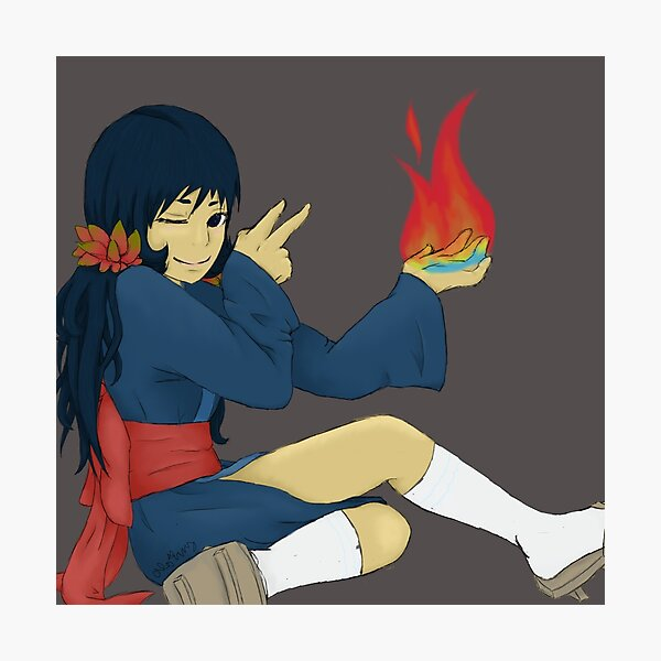 Cyndaquil Gijinka with Fire Photographic Print