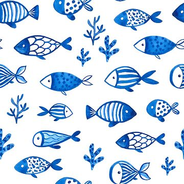 Blue gouache fishes by kostolom3000