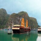 """Indochina Sails"" sailing the waters of Ha Long Bay, North Vietnam by Bev Pascoe"