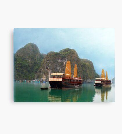 """""""Indochina Sails"""" sailing the waters of Ha Long Bay, North Vietnam Canvas Print"""