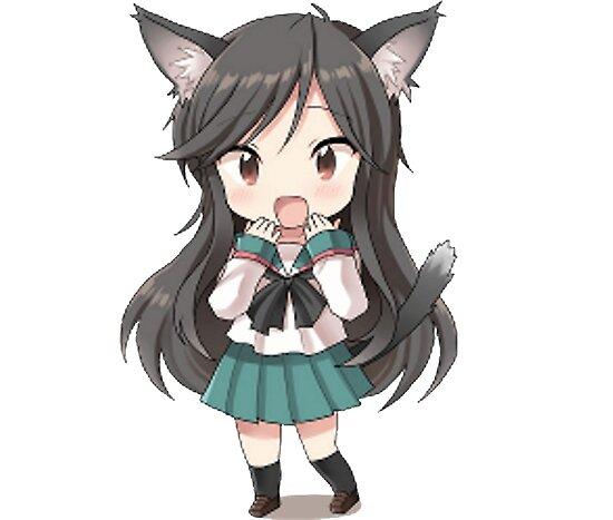 """Anime Girl Chibi: """"Cute Chibi Anime Nekomimi Girl"""" Poster By SAClothing"""