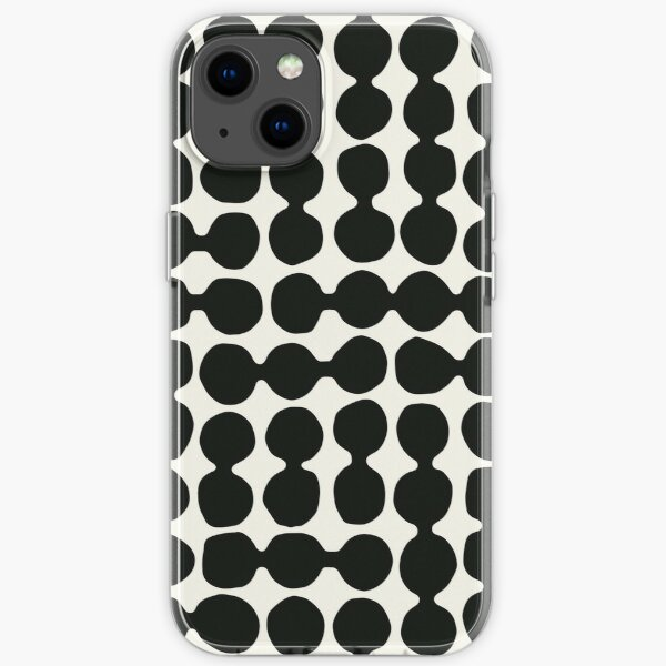 Sea worn pebbles pebbles, black, cream iPhone Soft Case