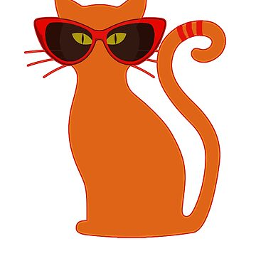 Orange Cat in Vintage Cat Eye Sunglasses by wmr2