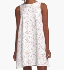 Pattern with clothes hangers and clothespins. A-Line Dress