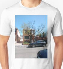 Building, Skyscraper, New York, Manhattan, Street, Pedestrians, Cars, Towers Unisex T-Shirt