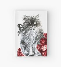 CAT KITTEN WITH RED ROSES ,Black and White Hardcover Journal