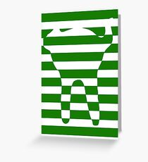 Green striped cat Greeting Card