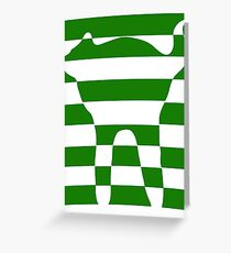 Green striped cat 2 Greeting Card