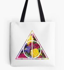 HP Hallows - outline voids (flowers bouquet) - wand, cloak, stone Tote Bag