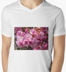 Bright pink spring cherry blossom flowers Men's V-Neck T-Shirt
