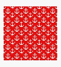 White Sail Boat Anchors on Nautical Red Photographic Print