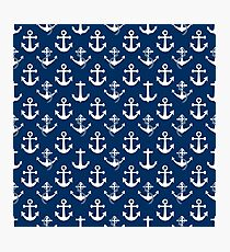 White Sail Boat Anchors on Nautical Blue Photographic Print